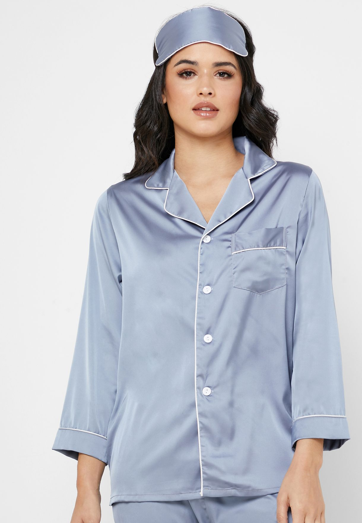 Satin w/ Eye Mask Shirt Pyjama Set