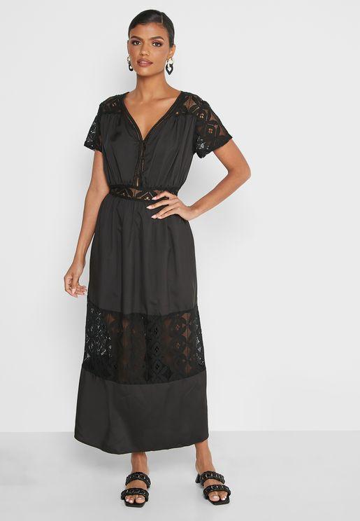 Lace Insert Detail Dress