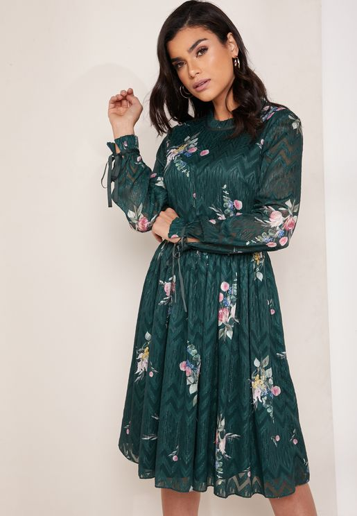 Elegant Floral Print Tie Sleeve Dress
