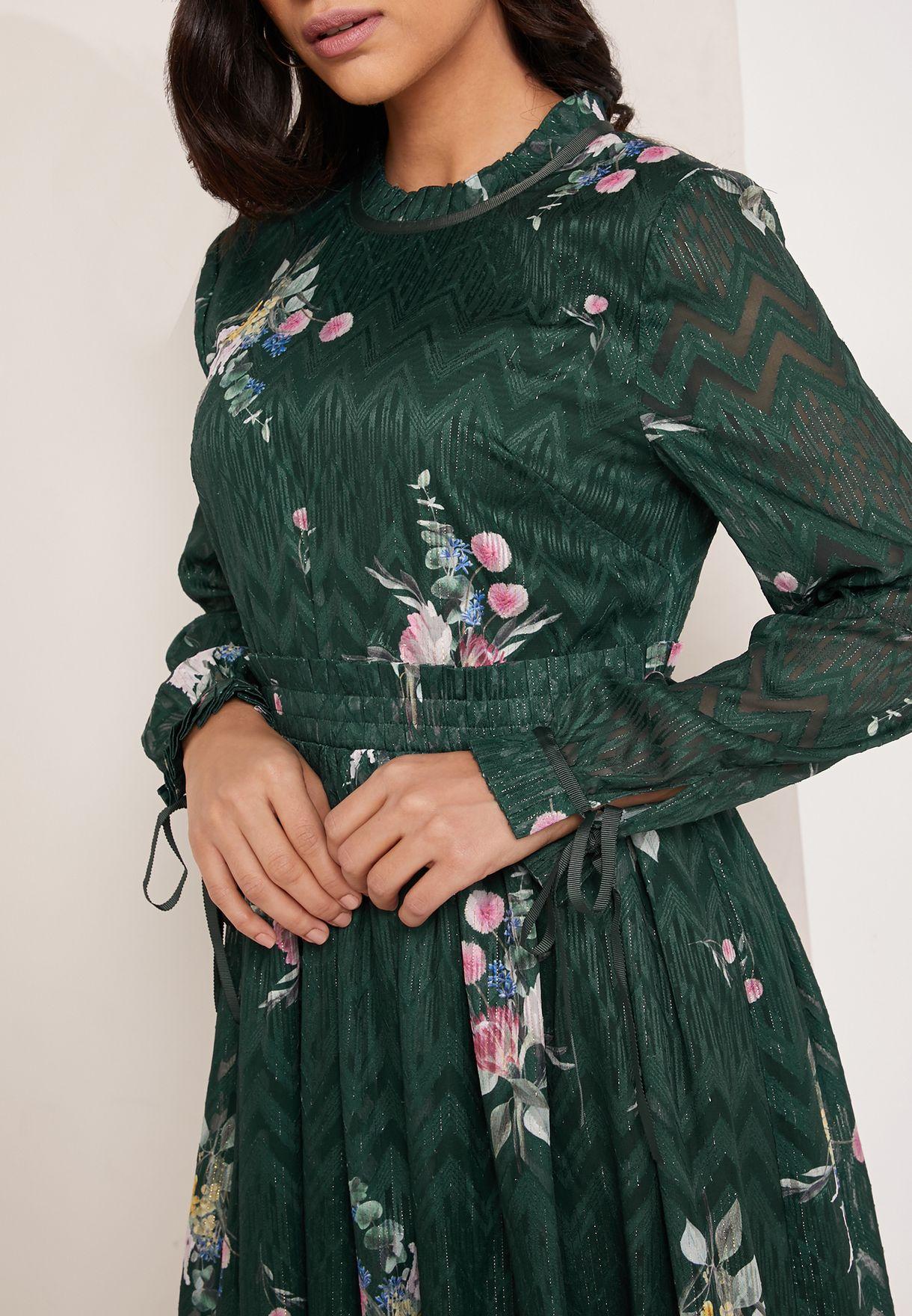 Elegant Floral Print Tie Sleeve Dress