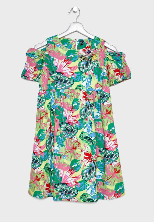 Kids Cold Shoulder Floral Dress