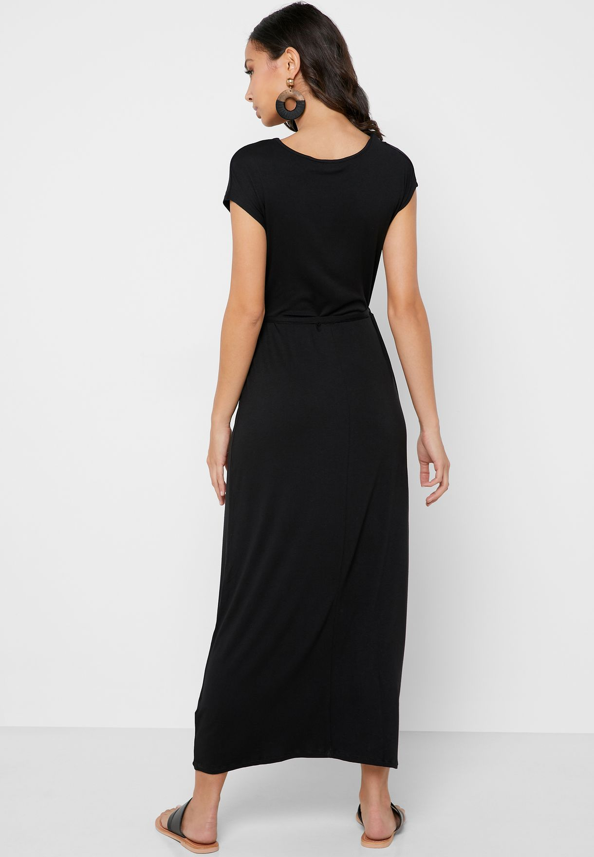 Tie Waist Wrap Pleated Dress