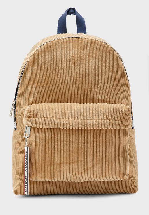 Logo Tape Corduroy Backpack