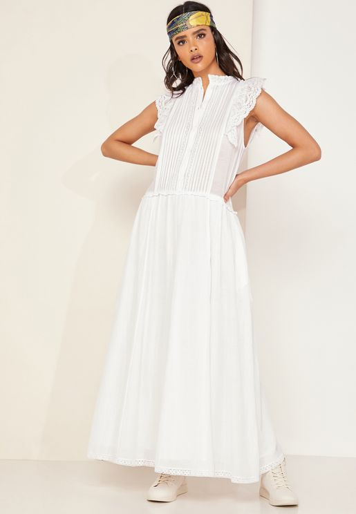 Romane High Neck Frill Detail Maxi Dress