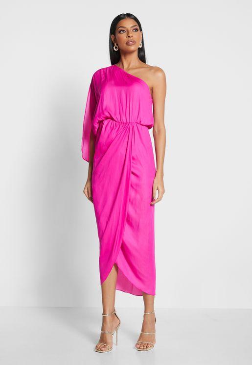 Ruched Waist One Shoulder Dress