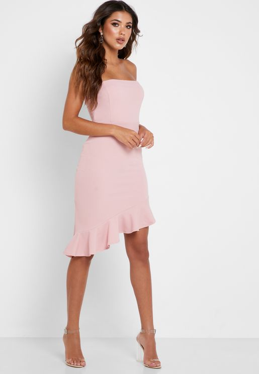 Bandeau Ruffle Hem Dress