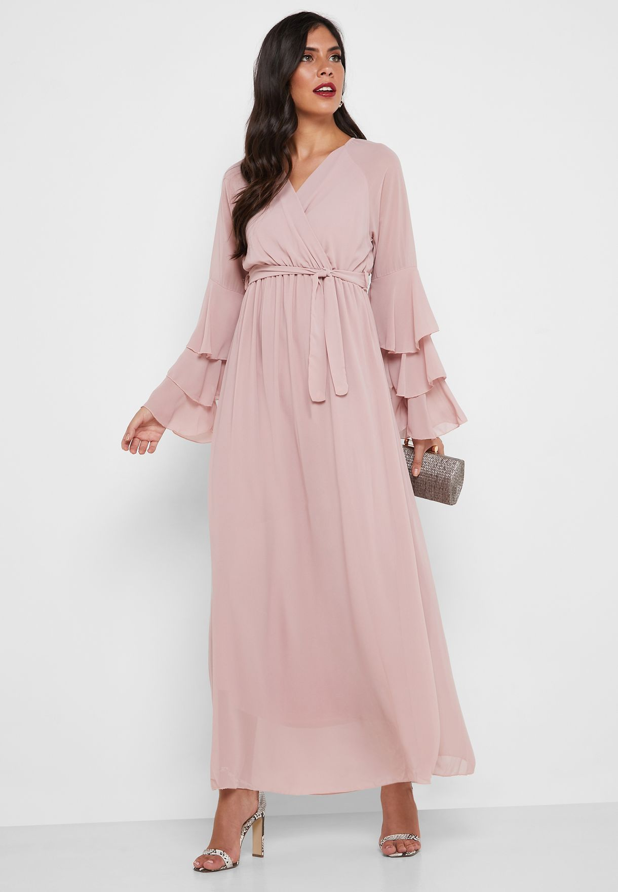 Tie Waist Layered Sleeve Wrap Dress