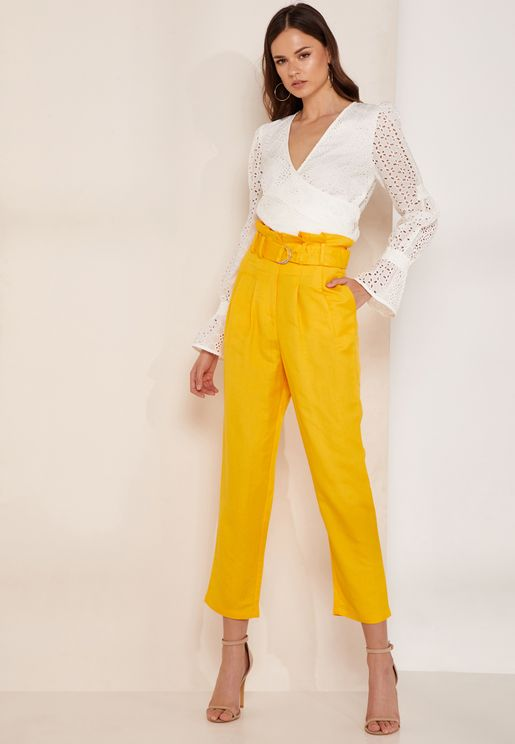 Crescent High Waist Linen Pants