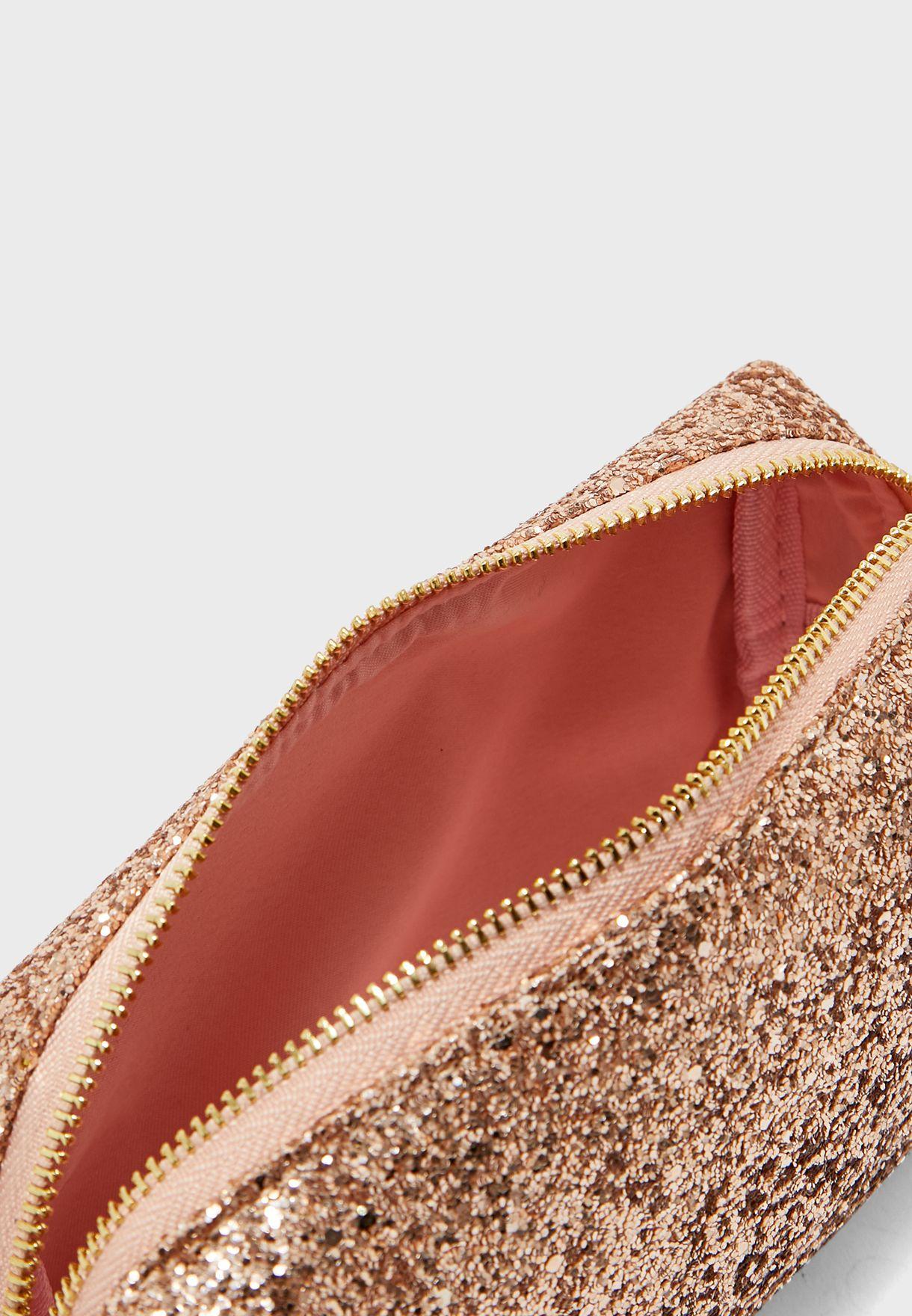 Gold Glitter Cosmetic Bag