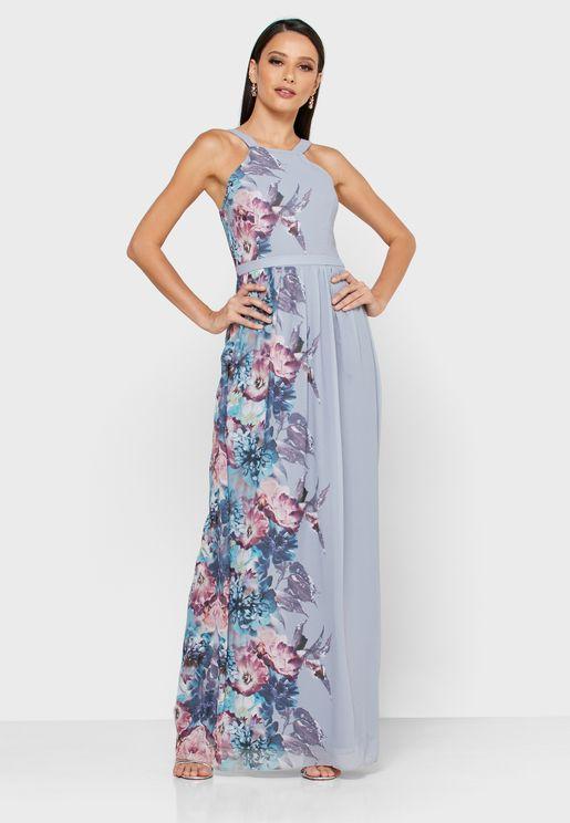 Halter Neck Floral Print Dress