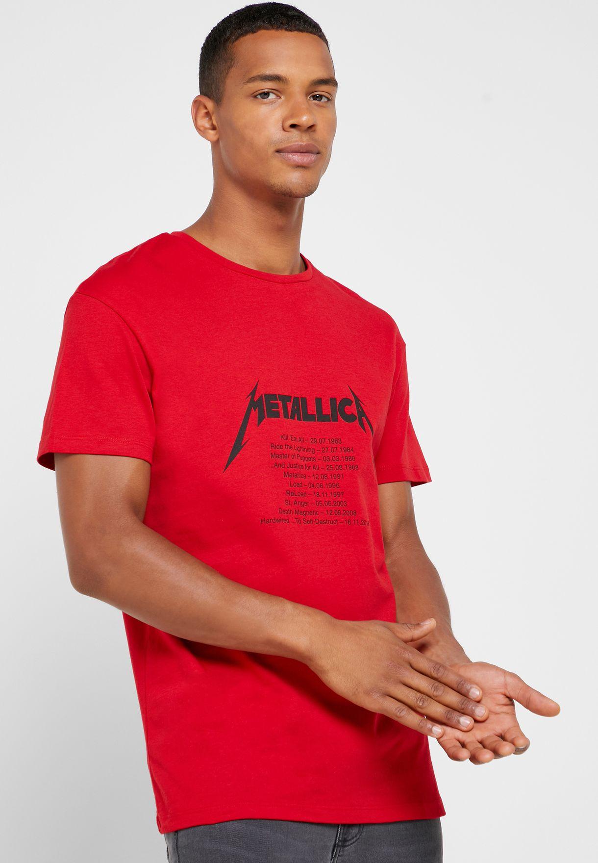 Metallica Print Crew neck T- Shirt
