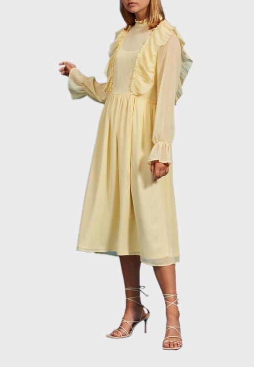 High Neck Pleated Dress