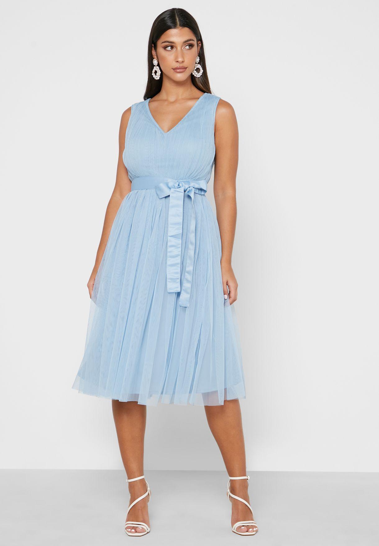 Pleated Mesh Detail Dress