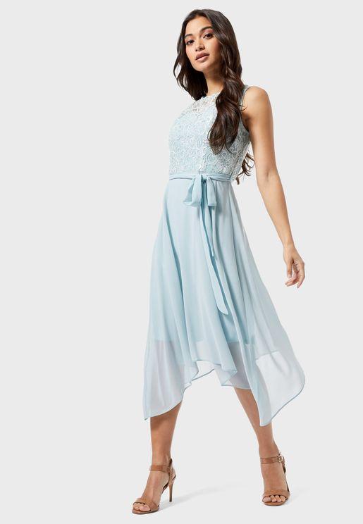 Tie Waist High Neck Asymmetric Dress