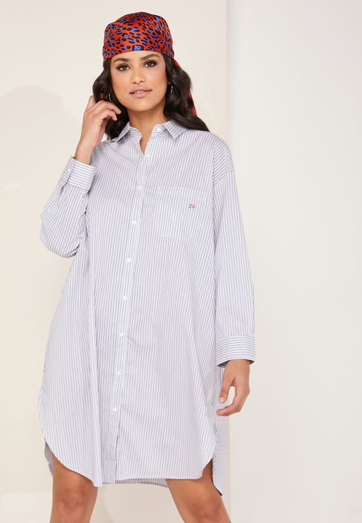 Resley Striped Shirt Dress
