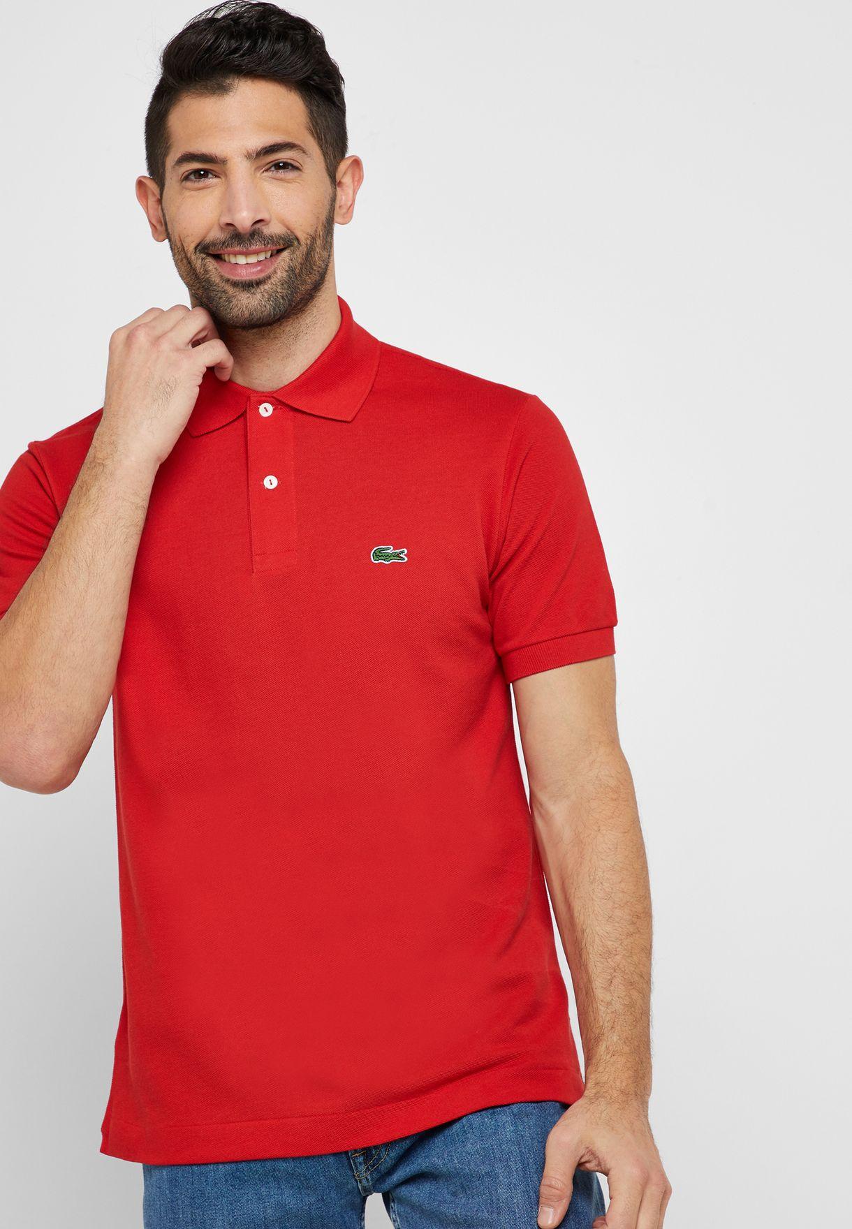 f9ce5f19 Shop Lacoste red Essential Polo L1212-00-240 for Men in Qatar ...