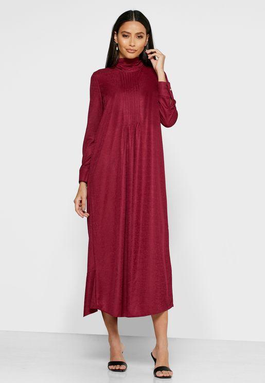 فستان ماكسي ساتان بأربطة خلفية