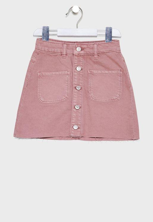 Kids Button Detail Skirt