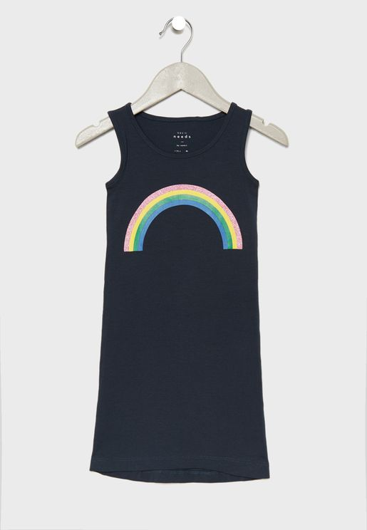 Kids Rainbow Graphic Maxi Dress