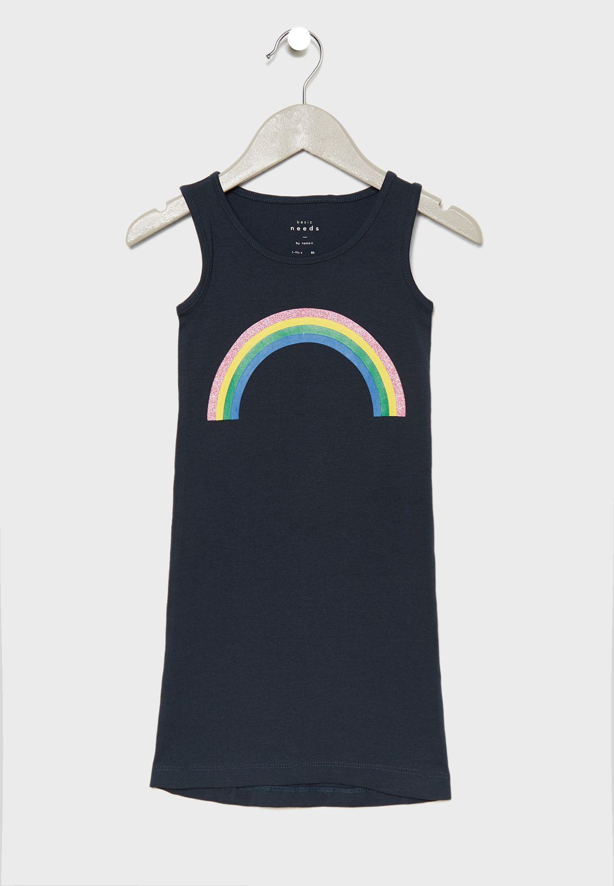 Kids Rainbow Graphic Maxi Dress