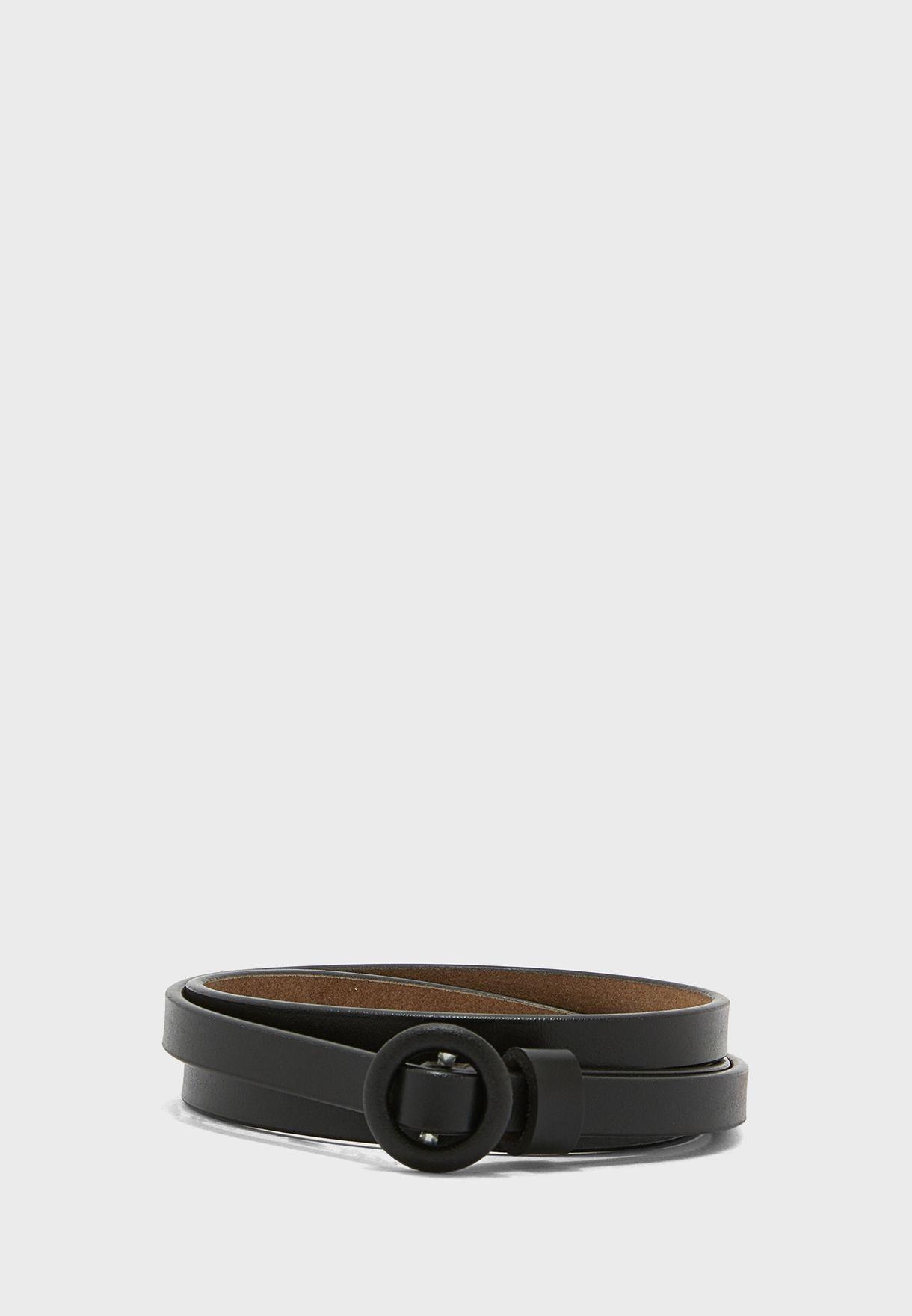 Leather Round Buckle Tonal Skinny Belt