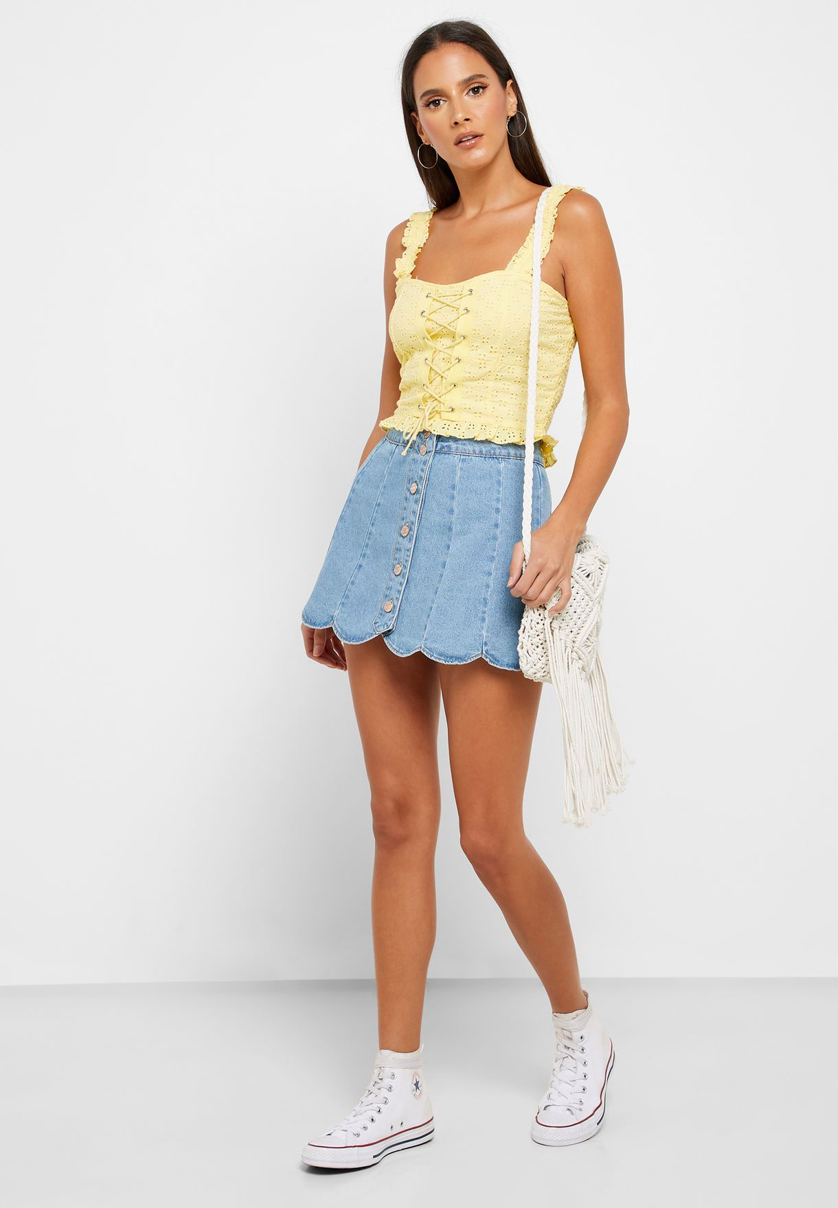 Lace Up Broiderie Crop Top