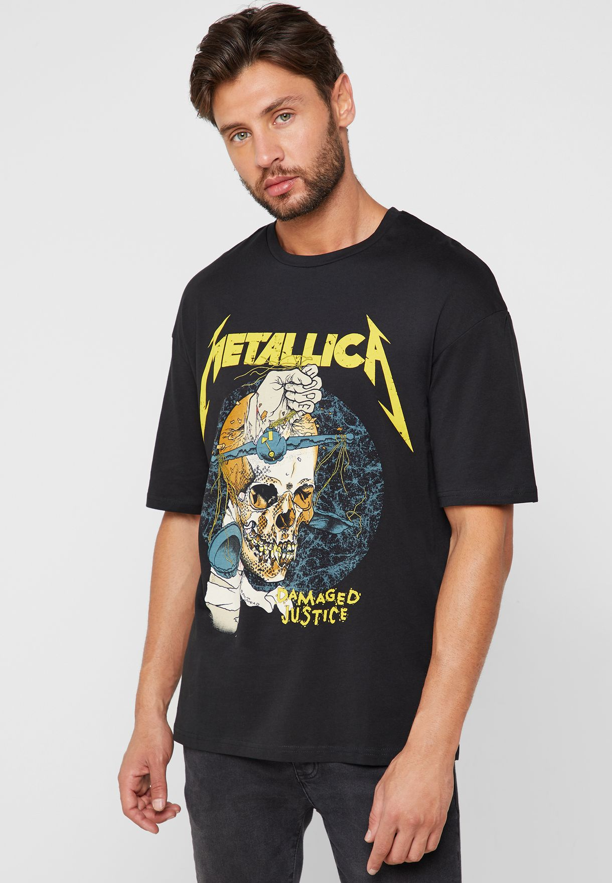 93cf1afa608 Shop Jack Jones black Metallica Print T-Shirt 12145890 for Men in ...