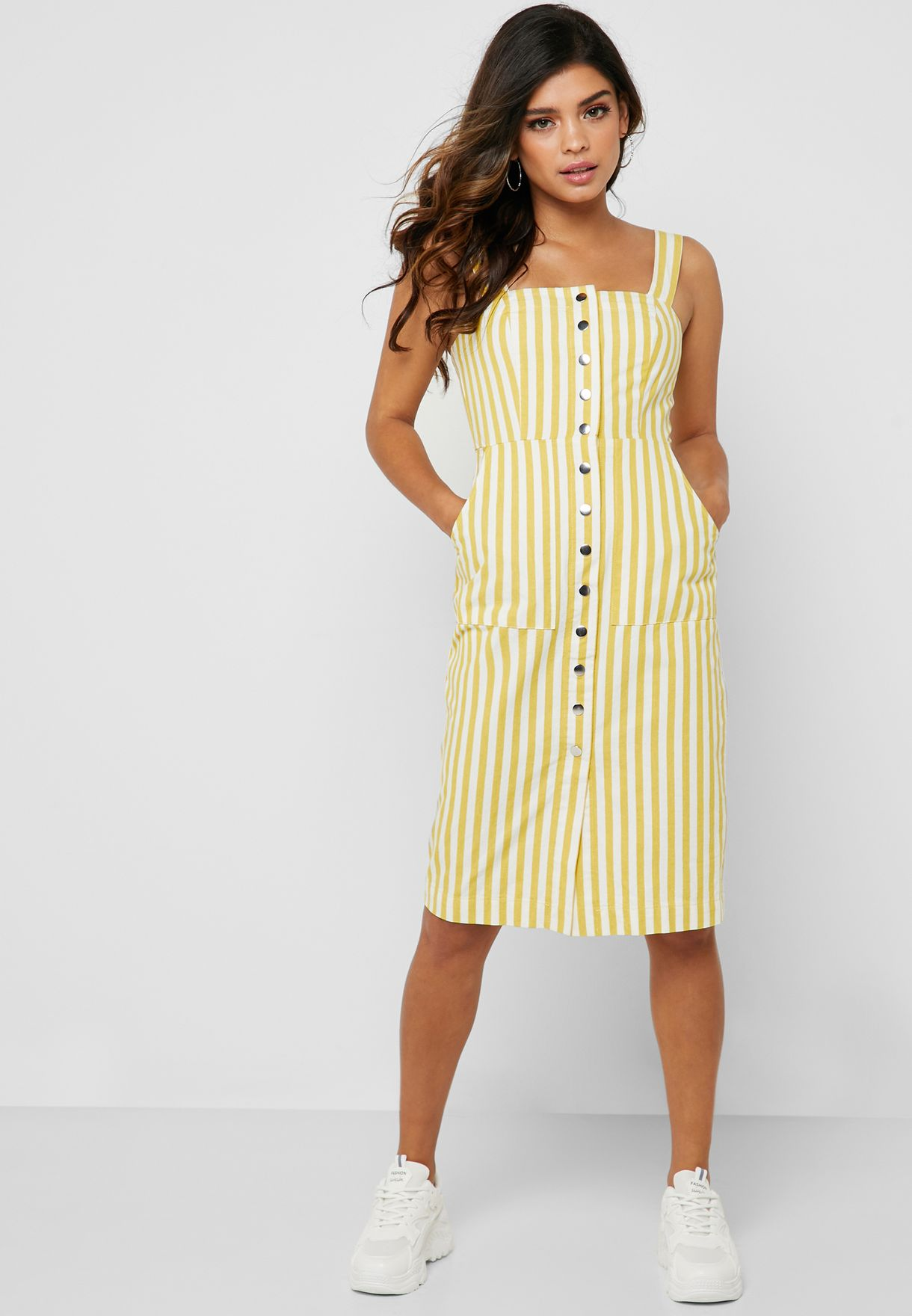 f0fab14a Shop Forever 21 multicolor Button Down Striped Dress 344135 for ...