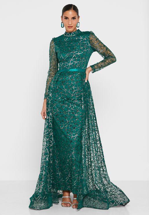 Surplice Neck Belted Dress