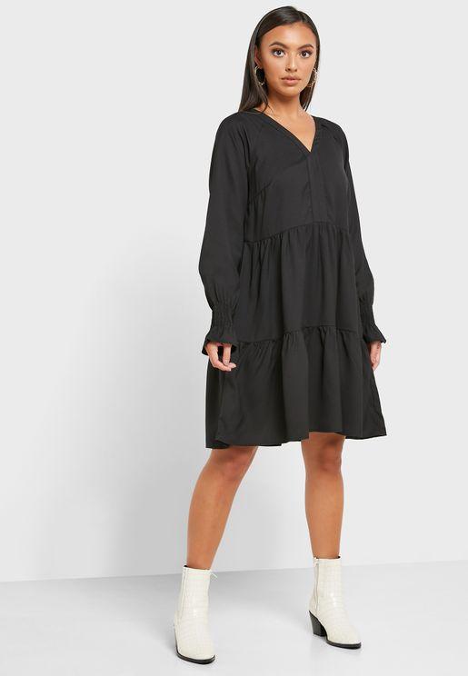 Shirred Cuffed Dress