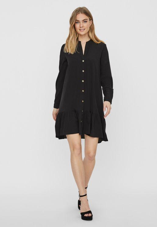Button Through Ruffle Hem Dress