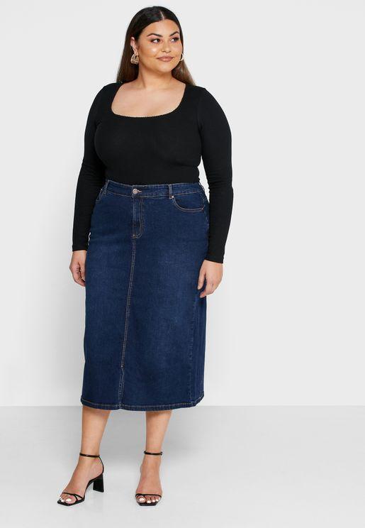 تنورة جينز ميدي
