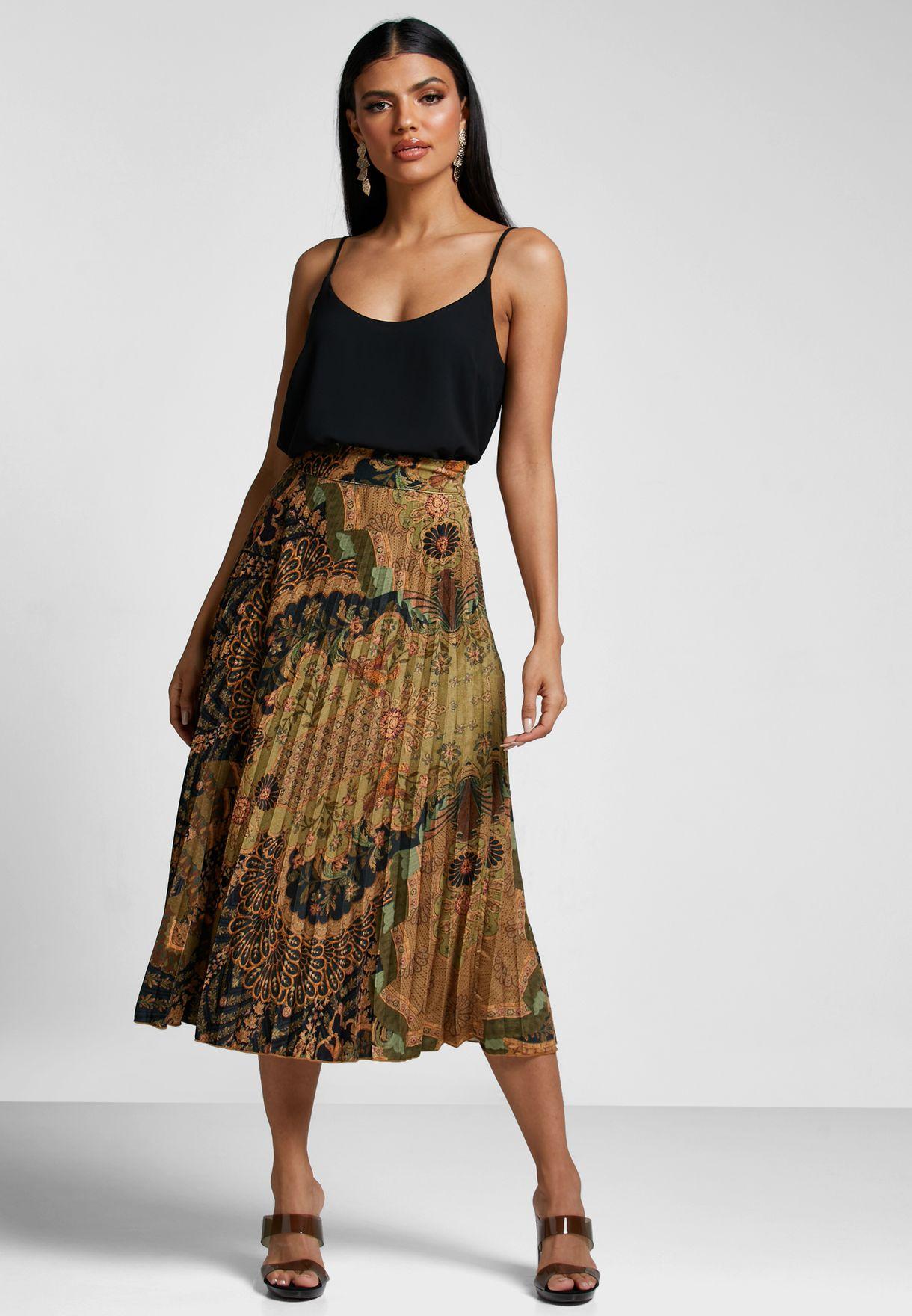 Pleated Embellished Skirt