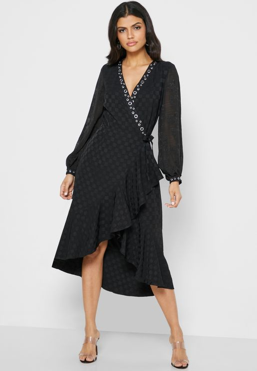 Eyelet Detail Wrap Dress