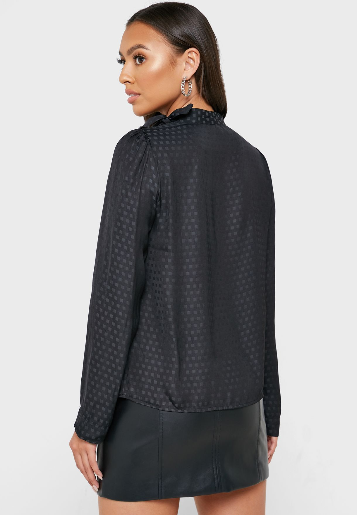 Bow Neck Jacquard Top