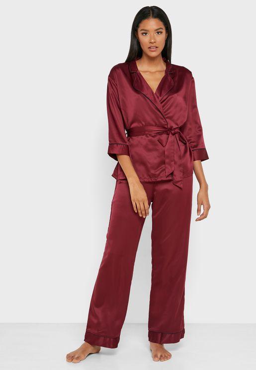 Tie Waist Piping Shirt & Pyjama Set