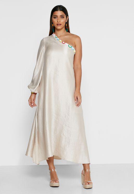 فستان بنمط قفطان وكتف واحد
