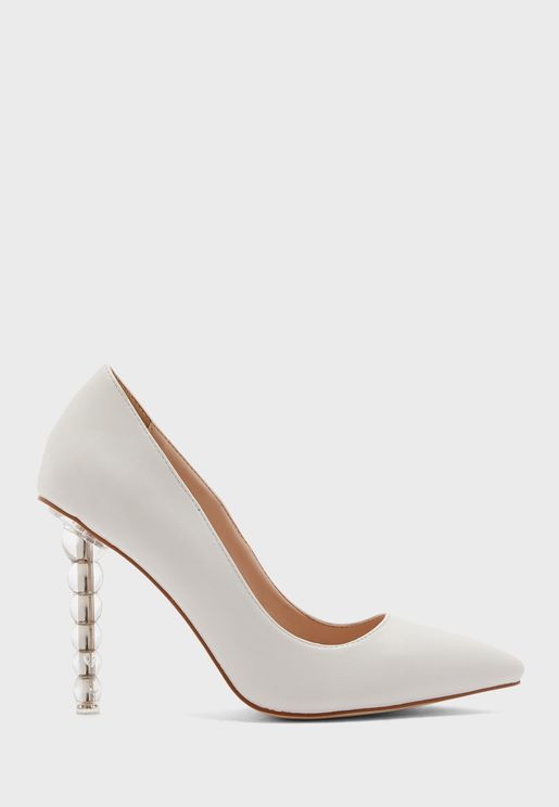 Pointed Pump With Clear Feature Heel