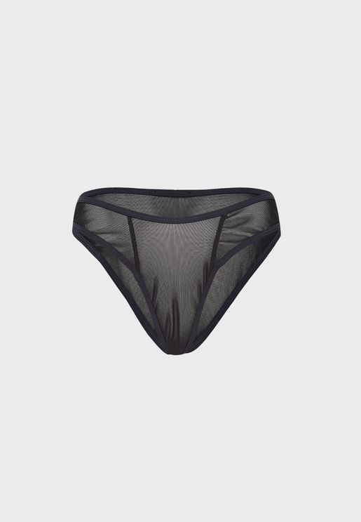 Seam Detail Mesh V Front Thong