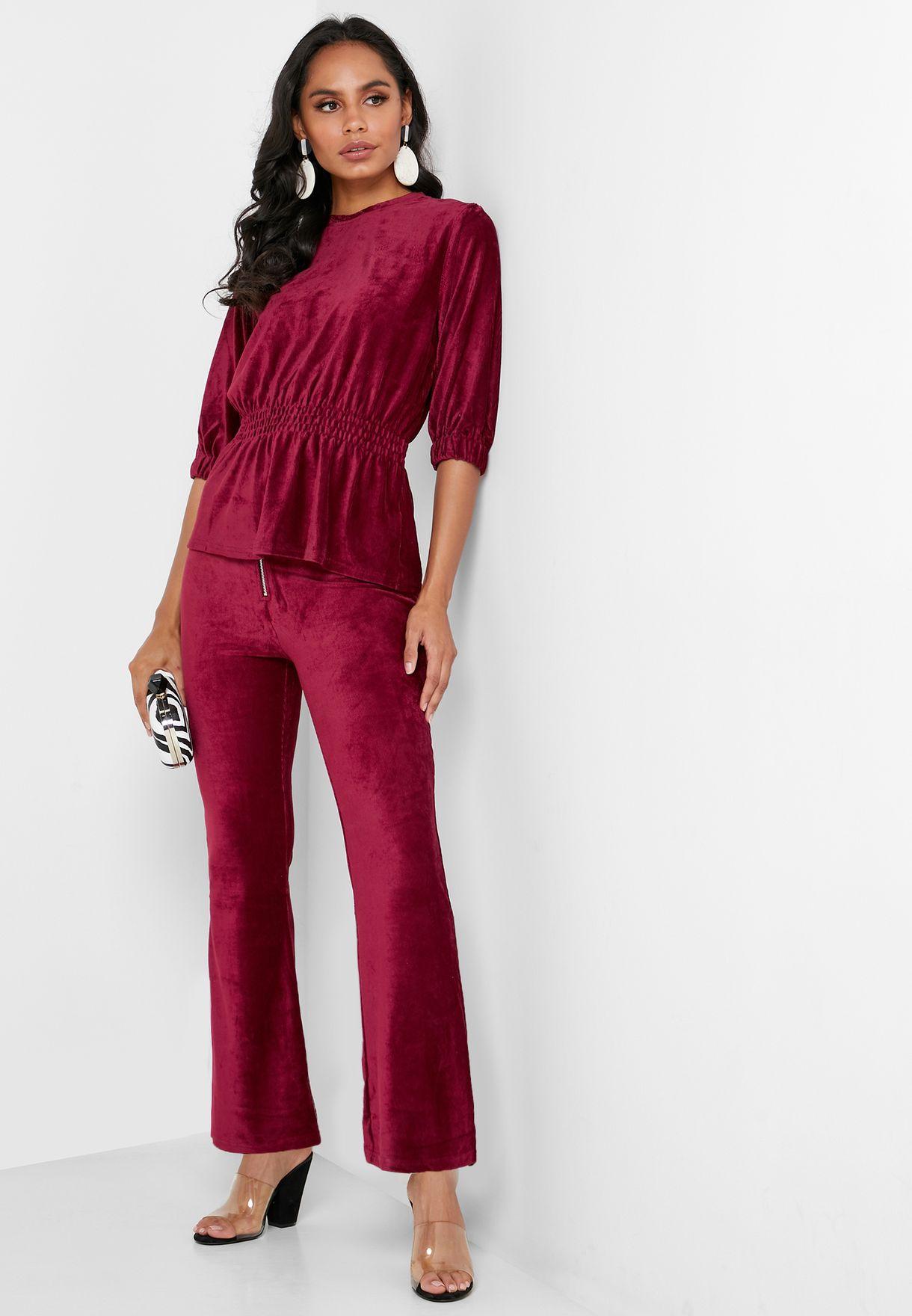Zip Detail Velvet Pants