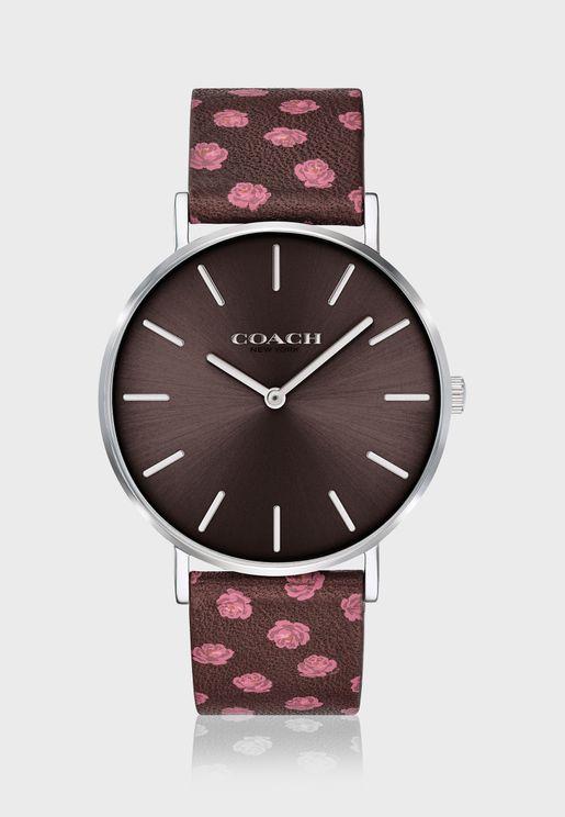 ساعة كلاسيكية بحزام جلد اصلي