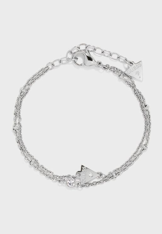 Triangle And Crystal Charm Bracelet