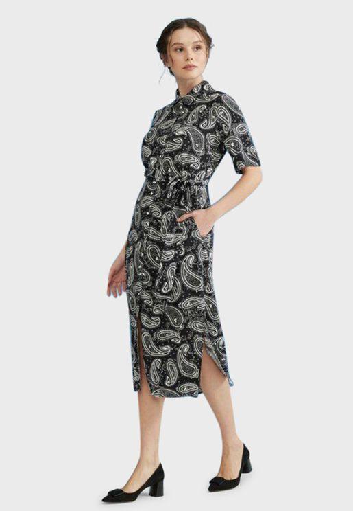 فستان بطبعات بتة (بيزلي)