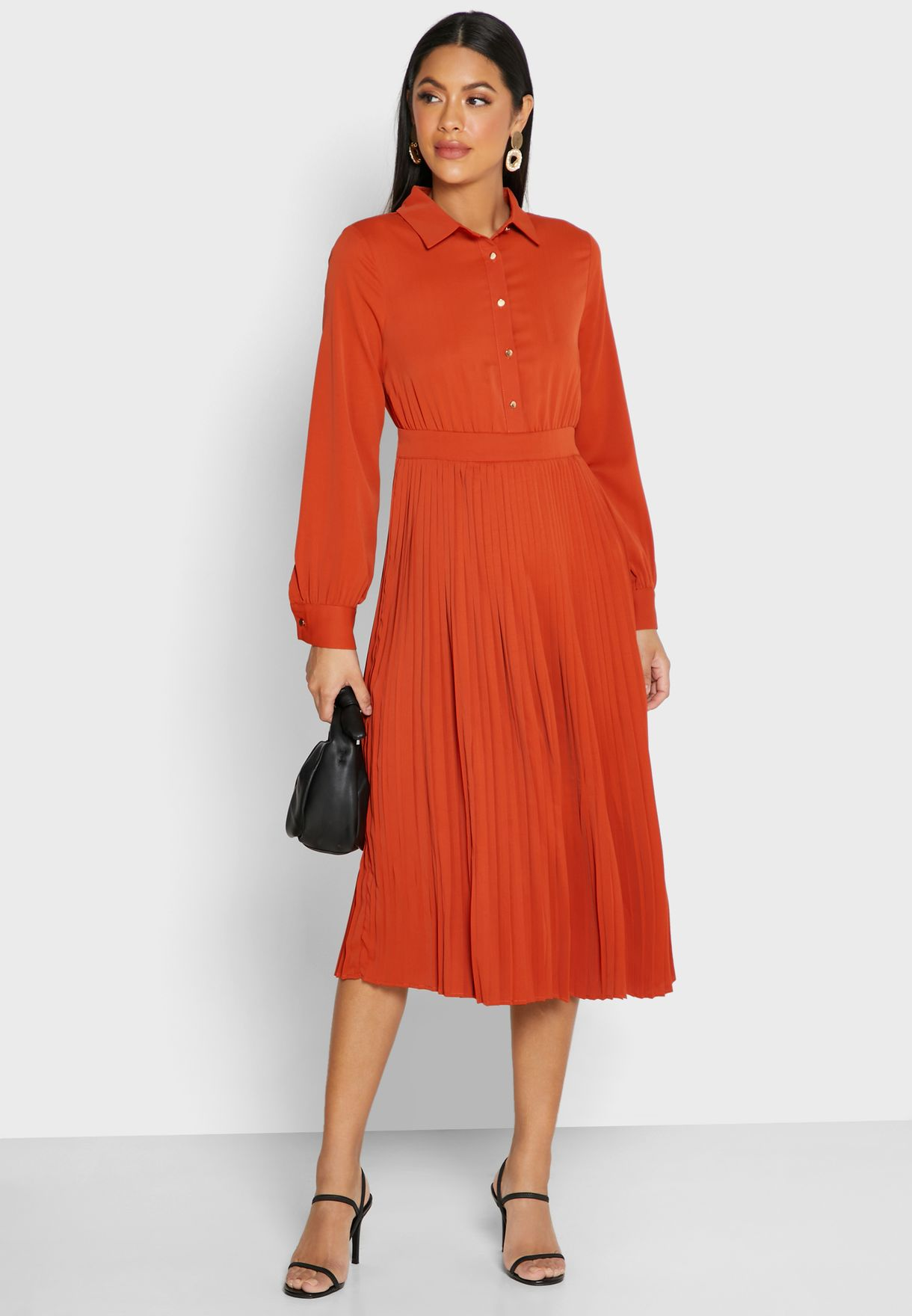 Pleated Skirt Shirt Midi Dress