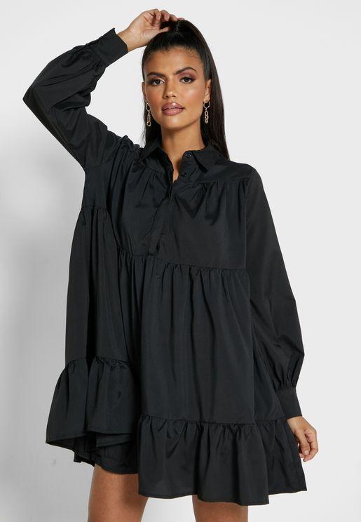 Ruffle Detail Placket Shirt Dress