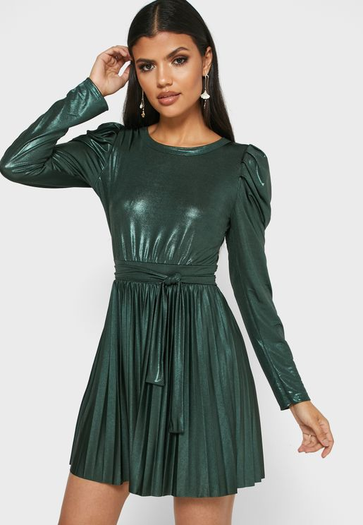 Metallic Pleated Skirt Mini Dress