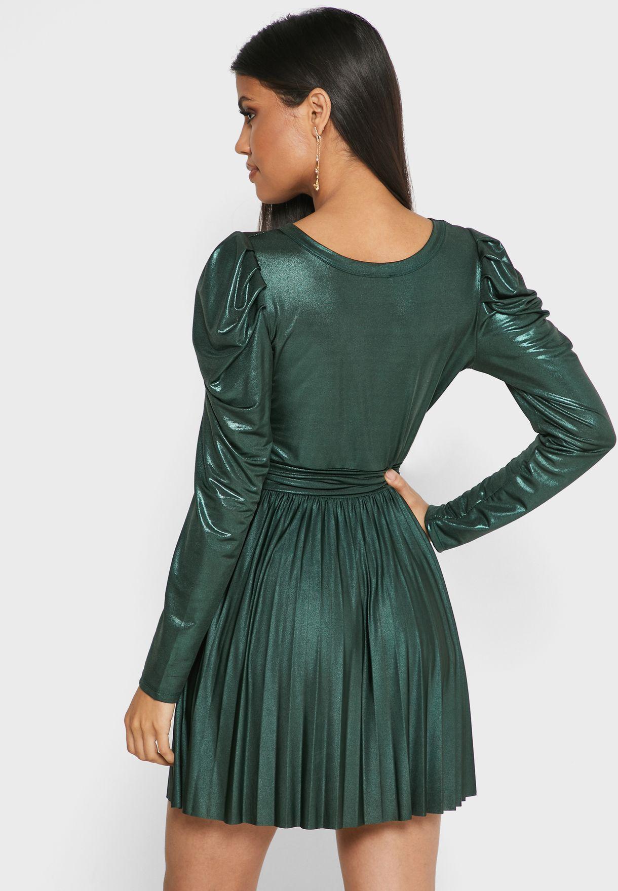 Metallic Pleated Skirt Mini Dress