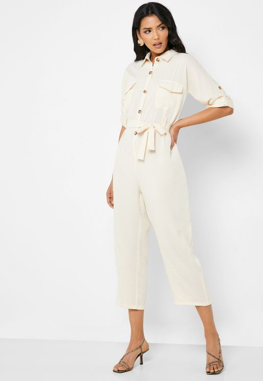 Utility Self Tie Cropped Jumpsuit