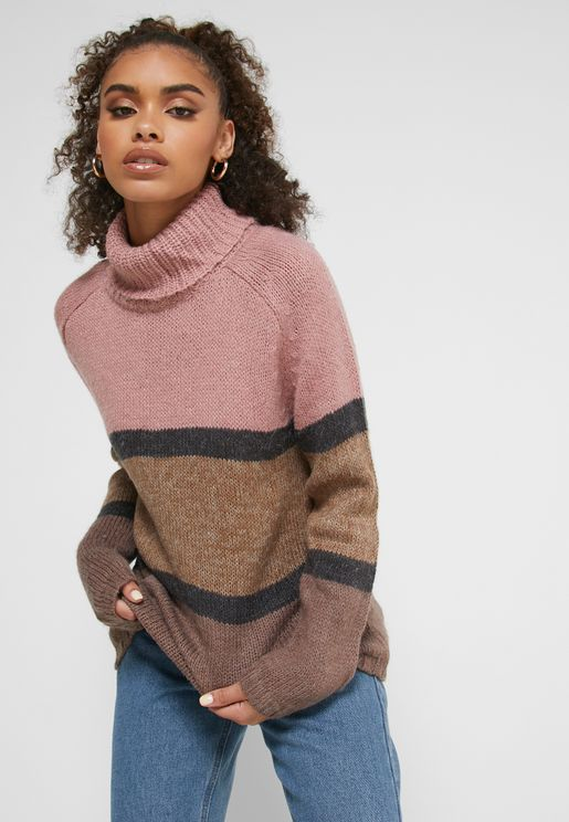 Colorblock Roll Neck Sweater