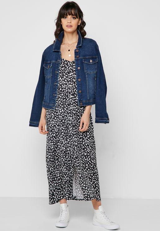 Cheetah Print Button Down Maxi Dress